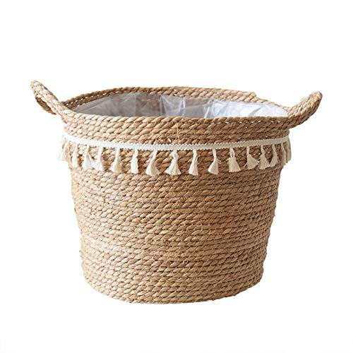 Gesh Maceta de junco marino con borla, macetas, para interiores y exteriores, cubierta para macetas, contenedores naturales de 29 cm