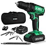 Cordless Drill Driver Kit, 20V Max Impact Hammer Drill Set w/ Lithium-Ion Battery, Fast Charger,...