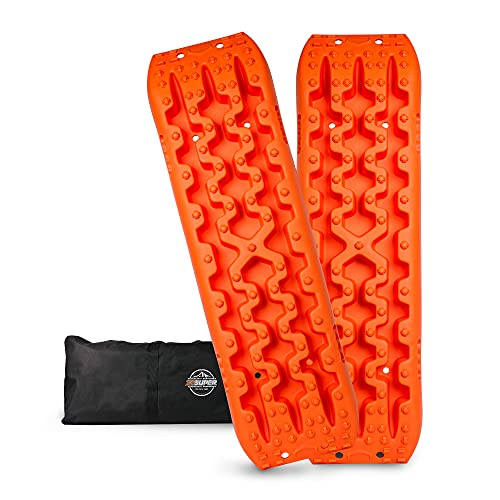 ZESUPER Recovery Traction Tracks Mat Tire Ladder Traction Track for Off-Road Mud, Sand, Snow 4WD (Orange)