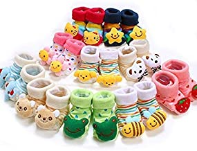 JACK N JILL Cartoon face Fancy Booties Socks for Baby Girl (2 Pair Assorted) (0-3months Multicolor)