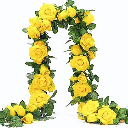 Künstlich Rosen Blumengirlande Kunstblumen Seidenblumen Blumen Rose Girlande Hängend Rebe für Zuhause Wand Hochzeit Bogen Anordnung Dekoration (2 Stücke, 9 Blumen-Gelb)