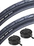 Schwalbe City Jet 26' Mountain Bike Slick Cycling Commuting Tyre 26' x 1.95' & Schrader Valve Tube Deal x 2...