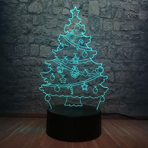 3D nachtlampje voor kinderen lamp LED 3D lamp kerstboom met sneeuw in 3D lamp LED RGB slaapkamer meerkleurig tafel slaap nachtlicht deco USB basis kindercadeau Nieuwjaar met afstandsbediening