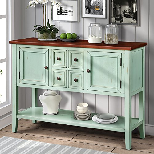 Buffet Table, Cambridge Series Sideboard Table with Bottom Shelf, Console Table Dining Room Server, Entry Table Buffet Cabinet Sofa Table (Antique Blue)