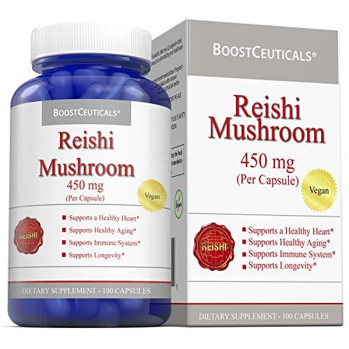 Reishi Mushroom Capsules 100 Vegan No Stearates No Additives 900mg Daily Dose – Pure Non GMO Gluten Free Ganoderma Lucidum Reishi Mushroom Extract Supplement 50 Days Supply by BoostCeuticals