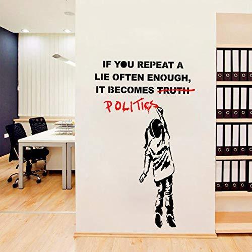 Zn Banksy Vinyl Wandtattoo Street Art Graffiti Politik Lüge Wandaufkleber Art Home Wohnzimmer Schlafzimmer Dekorative 97 * 58Cm