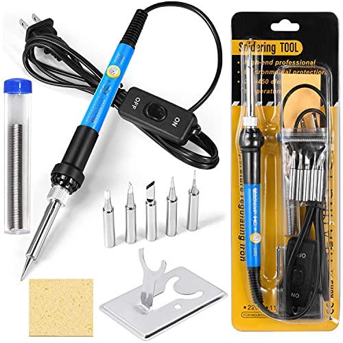 Soldering Iron Kit Electronics, 60W Adjustable Temperature Welding Tool, Digital Multimeter, Soldering Iron Tips,Desoldering Pump,Screwdriver,Solder Wire,Tweezers,Stand (Light Blue)