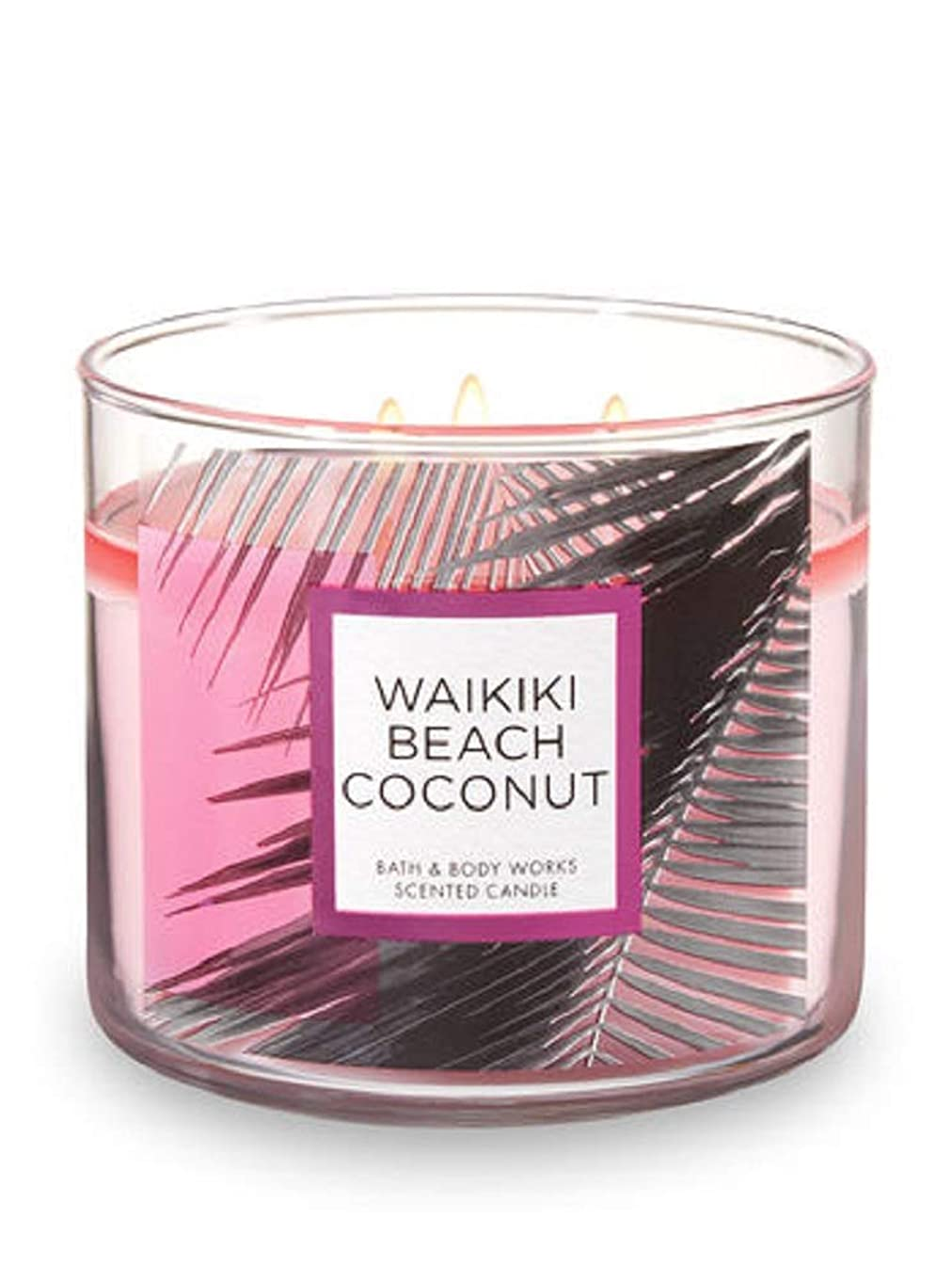 ブラジャー助言する報復するBath and Body Works 3 Wick Scented Waikiki Beach Coconut 430ml with Essential Oils