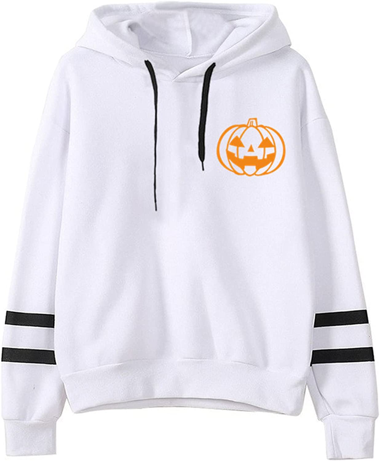 Women's Halloween Hoodies Safety and trust Striped Long Funny Seattle Mall Draw Pumpkin Sleeve