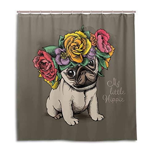vinlin Hippie Mops Hund Blumen Wasserdicht Badezimmer Zubehör Duschvorhang Duschvorhang 167,6 x 182,9 cm, Polyester, Multi, 72X72 inch