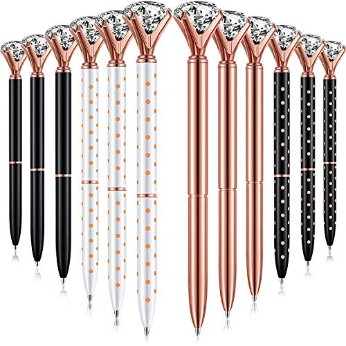 Bememo 12 Pieces Big Diamond Pen Rhinestones Crystal Metal Ballpoint Pens Black Ink (4 Rose Gold Colors)