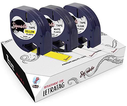 Squuido 3 Casetes de Cinta de Plástico Negro sobre Transparente/Blanco/Amarillo Etiquetas 12mm x 4m compatibles para Dymo LetraTag LT-100H LT-100T LT-110T Plus 2000 QX50 XR XM