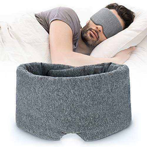 100% Handmade Cotton Sleep Mask Blackout - Comfortable and Breathable Eye Mask for Sleeping Adjustable Blinder Blindfold Airplane with Travel Pouch - Best Night Companion Eyeshade for Women Men Kid