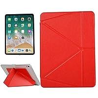 タブレットケース マルチ折りたたみホルダー&スリープ/ウェイクアップ機能付きのiPad Proの11インチ(2018年)のためのPUレザーケース (色 : 赤)