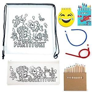Partituki Pack Material Escolar Incluye: 7 Ceras, Estuche Escolar, 6 Lápices con Sacapuntas, Libreta Emoji de 40 Páginas…