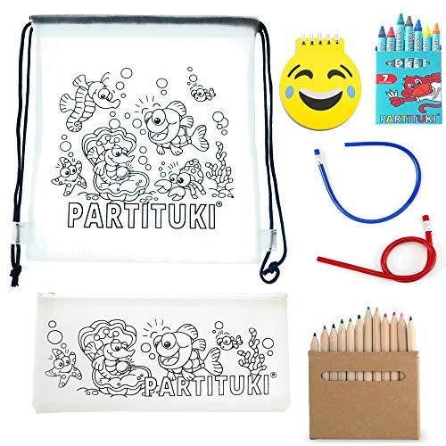 Partituki Pack Material Escolar Incluye: 7 Ceras, Estuche Escolar, 6 Lápices con Sacapuntas, Libreta Emoji de 40 Páginas, Mochila Escolar y 2 Lápices Flexibles