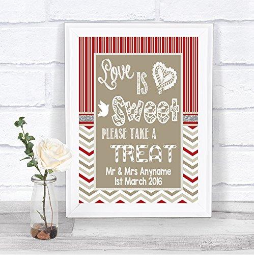 Rood & Grijs Winter Kerstmis Liefde is Zoete Snoep Buffet Gepersonaliseerde Bruiloft Teken Print Framed Oak Small