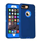 Co-Goldguard Case for iPhone 7 Plus/8 Plus Heavy Duty Armor 3 in 1 Built-in Screen Protector Rugged Cover Dust-Proof Shockproof Scratch-Resistant Shell Compatible with iPhone 7+/8+ 5.5 Blue/Navy