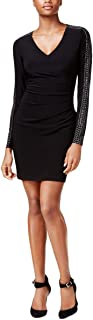 GUESS Women's Black and Gold Long Sleeve Dress