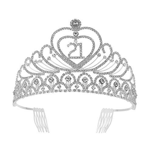 Tiara de cristal de strass para festa de aniversário, coroa de 21 anos (prata)