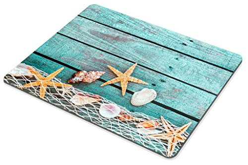 Smooffly Gaming Mouse Pad Custom,Pretty Turquoise Blue Nautical Background Decorated with Draped Fishing net and Starfish on Painted Rustic Wooden Boards Mouse pad Photo #4