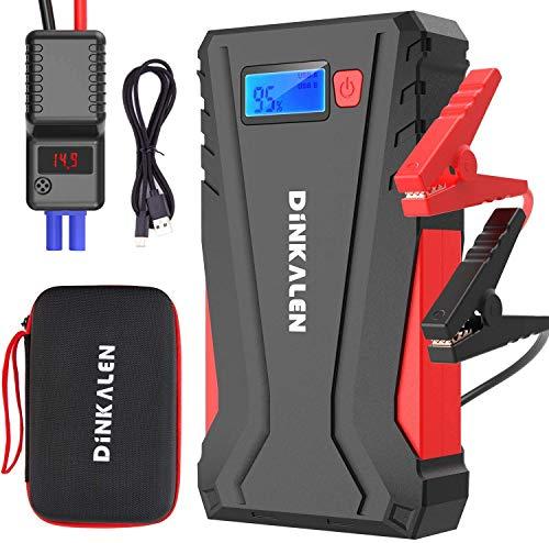 DINKALEN Booster Batterie 12800mAh 800A Portable Jump Starter (Jusqu'à 6.0L Essence/5.0L Gazole) Démarrage de Voiture avec Écran LCD Pinces de sûreté intelligentes Sorties QuickCharge 3.0 Lampe LED