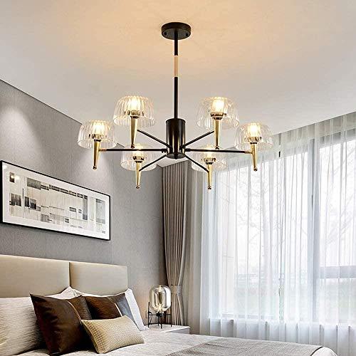 Lámpara colgante de medusa E14 * 6 Luz cálida Moderna minimalista Dorado Negro Lámpara de techo LED Decoración del hogar Sala de estar Dormitorio 70 × 70 × 25cm