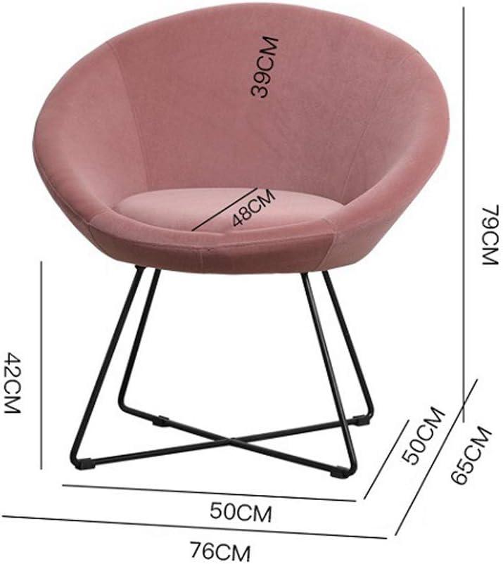 Comif- Chaise Longue rembourrée de Salon, Chaise de Salle à Manger en Fer forgé, Chaise de café élégante, Coussin Amovible, avec Tapis antidérapant (Multicolore en Option) Pink