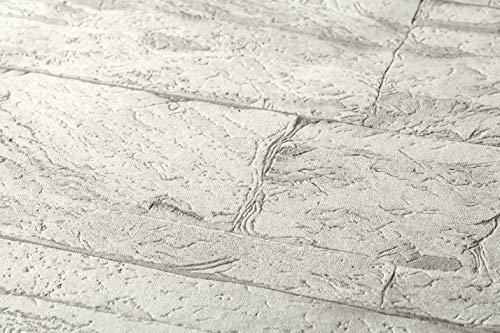 A.S. Création Vliestapete Best of Wood and Stone Tapete in Stein Optik fotorealistische Steintapete Naturstein 10,05 m x 0,53 m grau weiß 707161 7071-61
