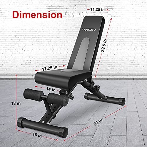 VIGBODY Adjustable Weight Bench Foldable Sit Up Bench Strength Training Bench for Full Body Workout 2021 New Version