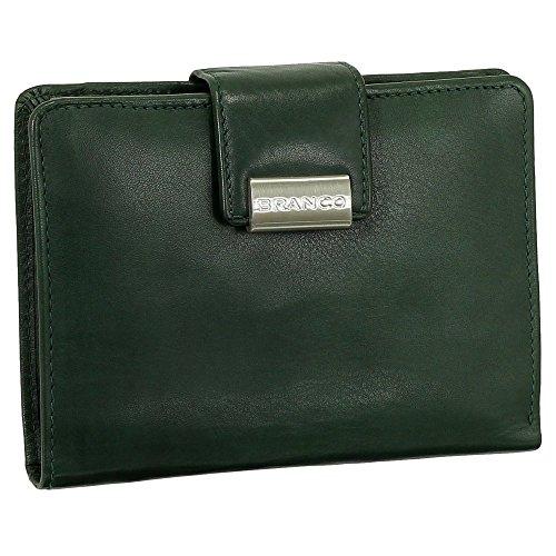 Leder Damen Geldbörse Portemonnaie Geldbeutel XXL mit Druckknopf 10 cm Farbe Grün
