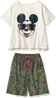 [ベルメゾン]ディズニー パジャマ ルームウェア レディース 綿100%スラブ天竺半袖パジャマ ミッキーマウス M