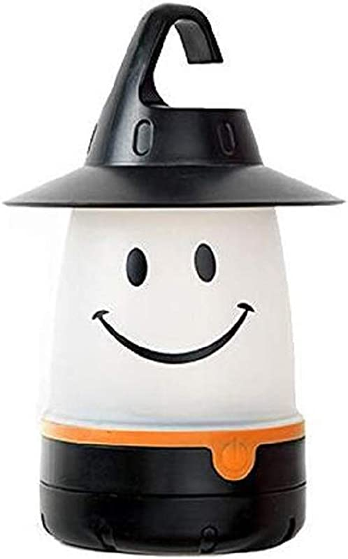 Smile Lantern Smiley Face LED Night Light Portable Moving Table Lamp For Indoor Outdoor Decorate Kids Room Hallway Black Megach