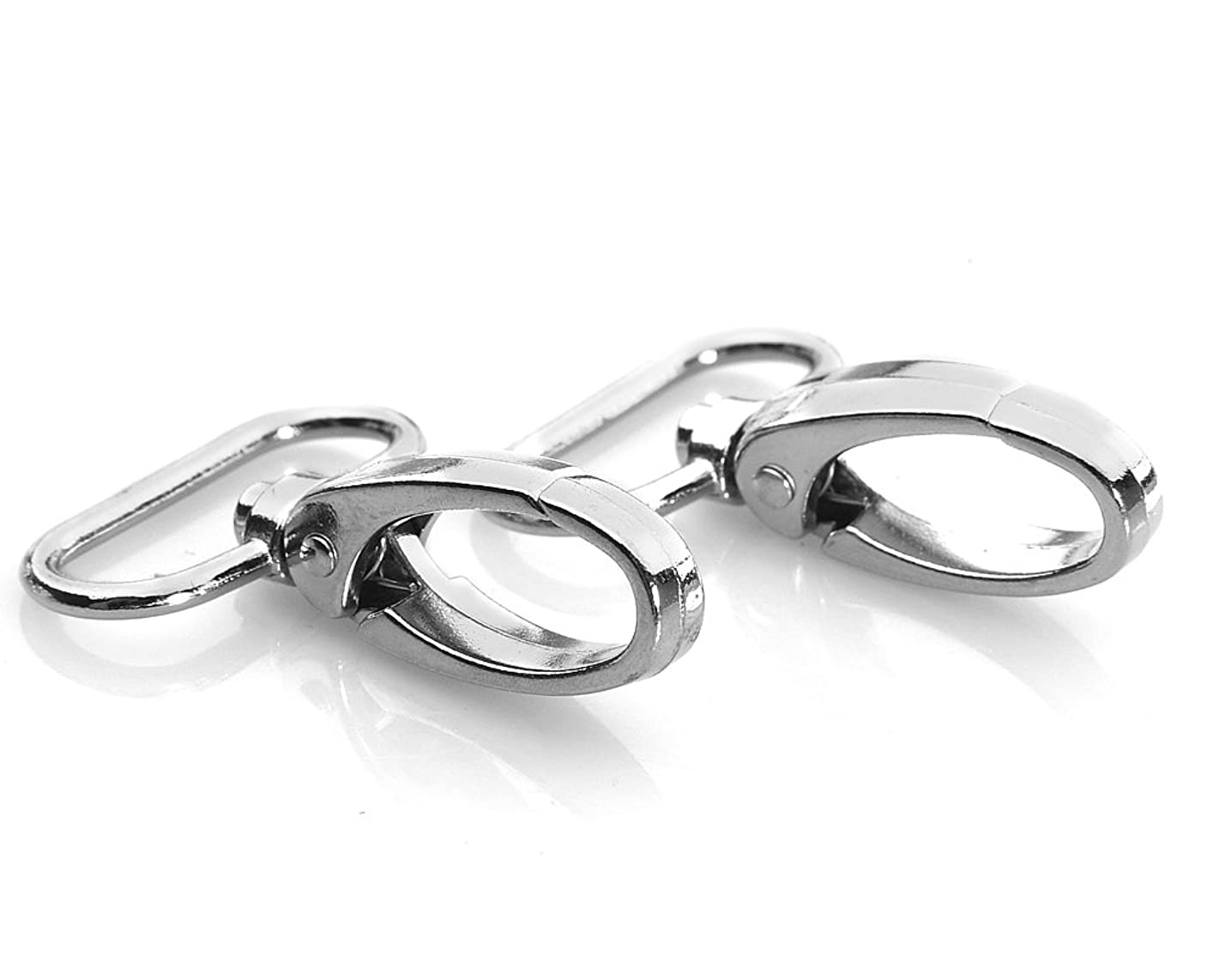 HI-BOOM Pack Of 20 Metal 1 Inches Silvery Curved Lobster Clasps Swivel Trigger Clips Snap