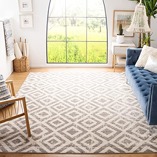 Safavieh Amsterdam Collection AMS105A Diamond Trellis Distressed Non-Shedding Stain Resistant Living Room Bedroom Area Rug, 8' x 10', Ivory / Mauve