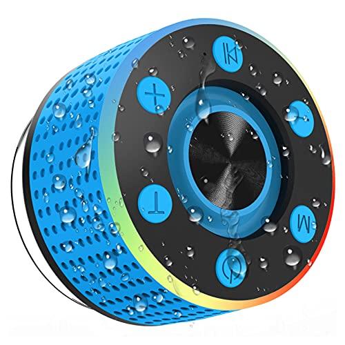 Altavoz Bluetooth 5.0, IPX7 Impermeable Altavoz Portatil Ducha con Ventosa, Potente Altavoces Inalambrico con FM Radio y LED, 7 Horas de Reproducción Mini Altavoz para Exterior, Piscina, Playa, Baño