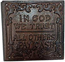 Cast Iron in God We Trust All Others Pay Cash Wall Plaque