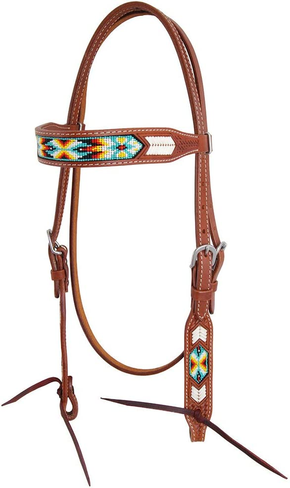 Oxbow Tack Peyote Rawhide and Headsta Browband price Inlay Beaded Our shop most popular