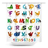 Coxila Animal ABC Shower Curtain Alphabet Pattern Colorful Educational Kids 60 x 72 Inch Polyester Fabric Waterproof 12 Pack Plastic Hooks