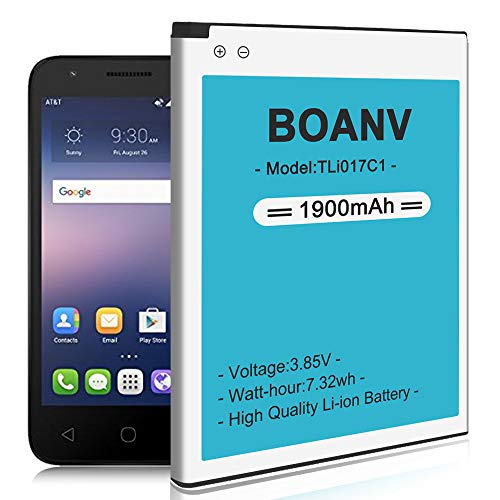 [1900mAh] TLi017C1 Battery,(2020 New Version) BOANV Replacement Battery for Alcatel GreatCall Jitterbug Flip Phone - 12 Months Service