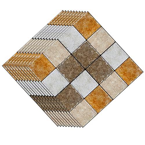 jojofuny 30 Piezas 3D Mosaico Azulejos Adhesivos Transferencias Pelar Y Pegar Azulejos Adhesivos contra Salpicaduras Autoadhesivos Impermeables Azulejos de Cocina Adhesivos de Pared