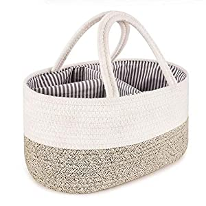 Baby Diaper Caddy Basket, ABenkle Rope Diaper Storage Basket, Portable Baby Caddy Basket for Boy's Nursery Diaper Organizer for Changing Table