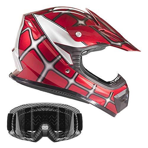 Typhoon Youth Off Road Helmet & Goggles DOT Motocross ATV Dirt Bike Motorcycle Red Spiderman Carbon Fiber Look, X-Large