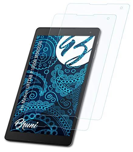 Bruni Schutzfolie kompatibel mit Medion LIFETAB P10506 MD60036 Folie, glasklare Bildschirmschutzfolie (2X)