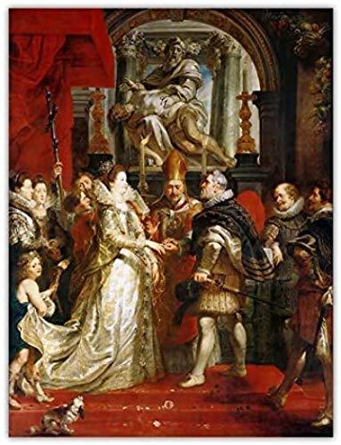 Rzhss Peter Paul Rubens The King Married Marie De Medici Art Poster Print Canvas Pictures Sala De Estar Decoración Del Hogar Regalo Único -24X32 In Sin Marco