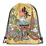 だるまの日本語での日本の国名と運勢男性と女性の学校旅行バックパック用ジムサックバッグ巾着バックパックスポーツバッグ17×14インチ