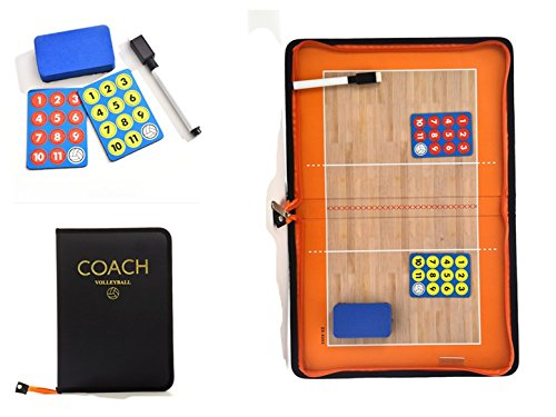FantasyDay Volleyball Coach Board with Magnetic Pieces and Dry Erase Marker - Leather Magnetic Tactic Board Foldable Strategy Coaching Clipboard with Zipper #1
