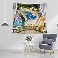 ハワイ風 タペストリー 海 ビーチ ヤシの木 窓外 自然風景 装飾布 気分転換 布製 壁掛け 新築お祝い 出産祝い 迎春 オシャレ クリスマス 迎春 新年 オフィス 居間 リビング 壁掛けフック付き