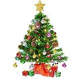 Charlemain Albero di Natale Piccolo, Albero di Natale da Tavolo con 60 Luci LED Multicolore, Mini Albero di Natale con Puntale per Albero di Natale e Ornamenti (20 Pollici)