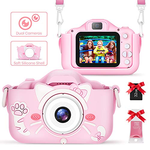 JODK Kids Digital Camera,20MP HD Dual Lens 1080P Video Camera with 32G TF Card,2.0 Inches Screen,Selfie, Filters, Stickers, Gaming,Anti-Drop Cameras, Best Gift for 3-10 Year Old Girls and Boys